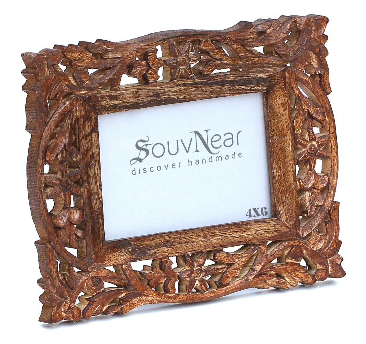 4x6 inches brown picture frame in bulk wholesale hand carved vintage look wooden photo - Wooden Picture Frames In Bulk