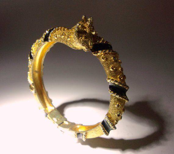 Leopard Cat Goldtone CADORO Hinged Bracelet, Black Enamel, Vintage