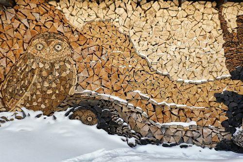 Wood Piles Turned Into Art Wood Wood Art Man Crafts