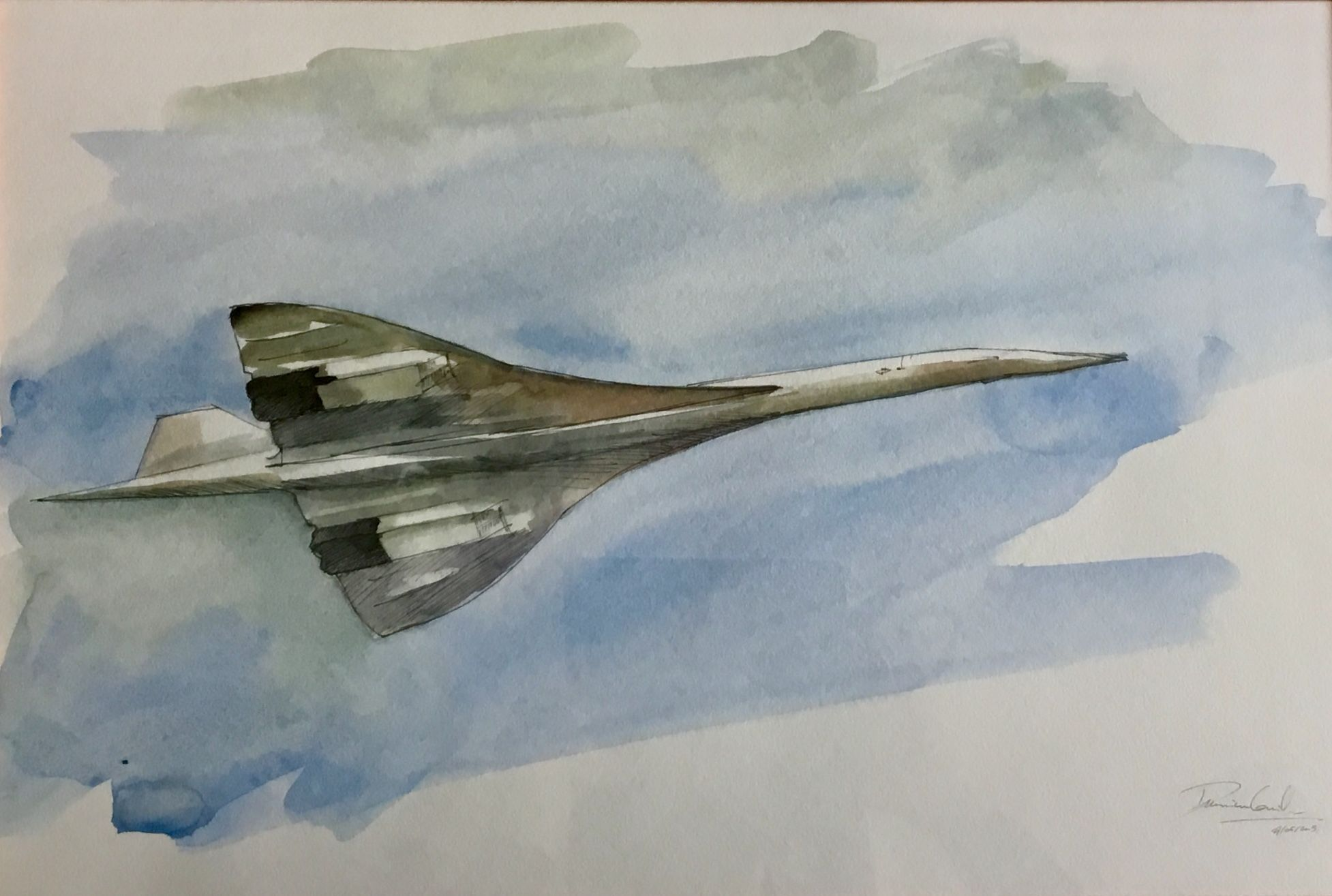 Details Sur Aquarelle Concorde En Vol Original Signe Guillaume