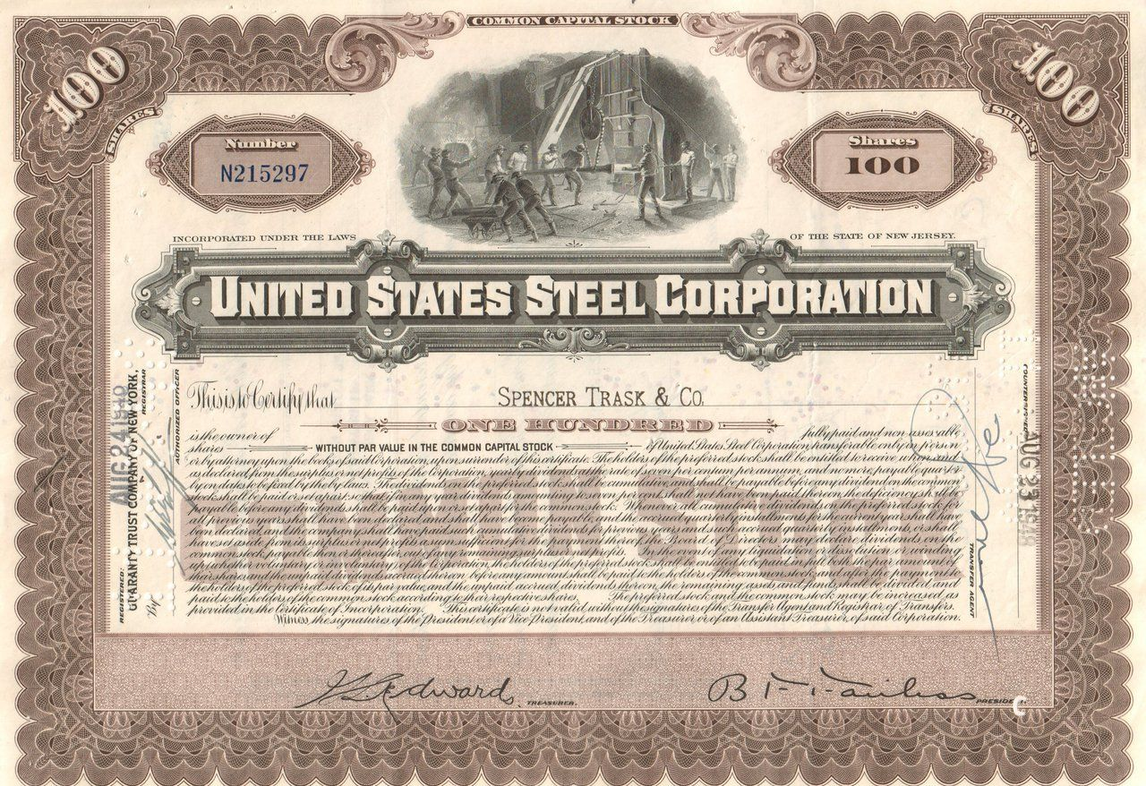 United states steel corporation stock certificate 1940s old desirable collectible stock certificate with great us financial history united states steel corporation great gift idea and historical piece 1betcityfo Gallery