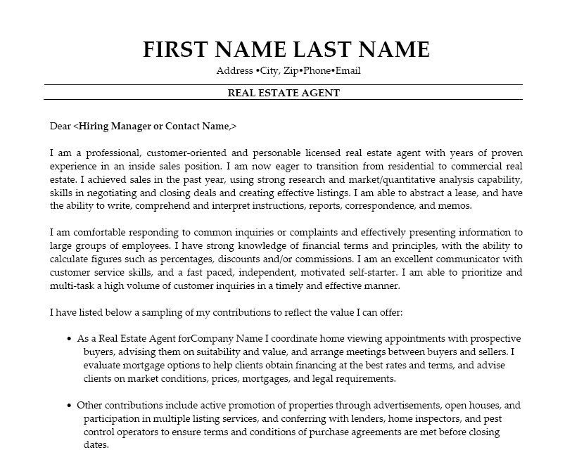 Real Estate Agent Resume Template Premium Resume Samples Example Real Estate Agent Estate Agent Cover Letter For Resume