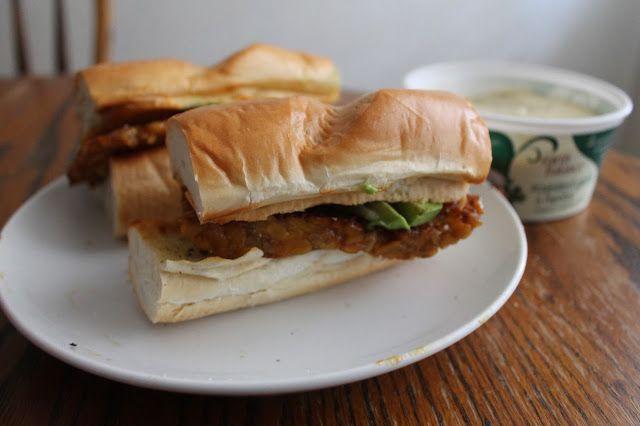 Tempeh & Cheddar Sandwich on Garlic Bread