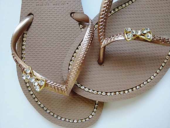 new product best service wholesale online Havaianas Flat com strass e piercing   sandalias ...