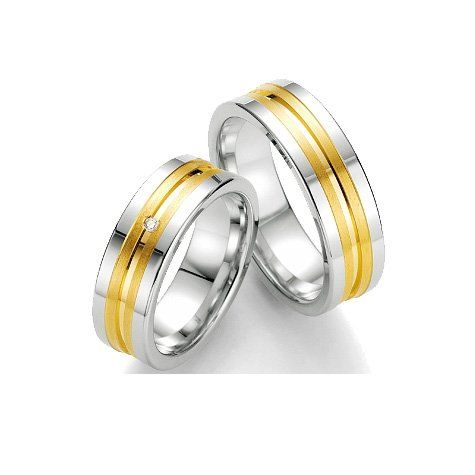 1 Paar Breuning Trauringe Eheringe Partnerringe Silber 925 mit Diamant 0,01 ct. | Your #1 Source for Jewelry and Accessories