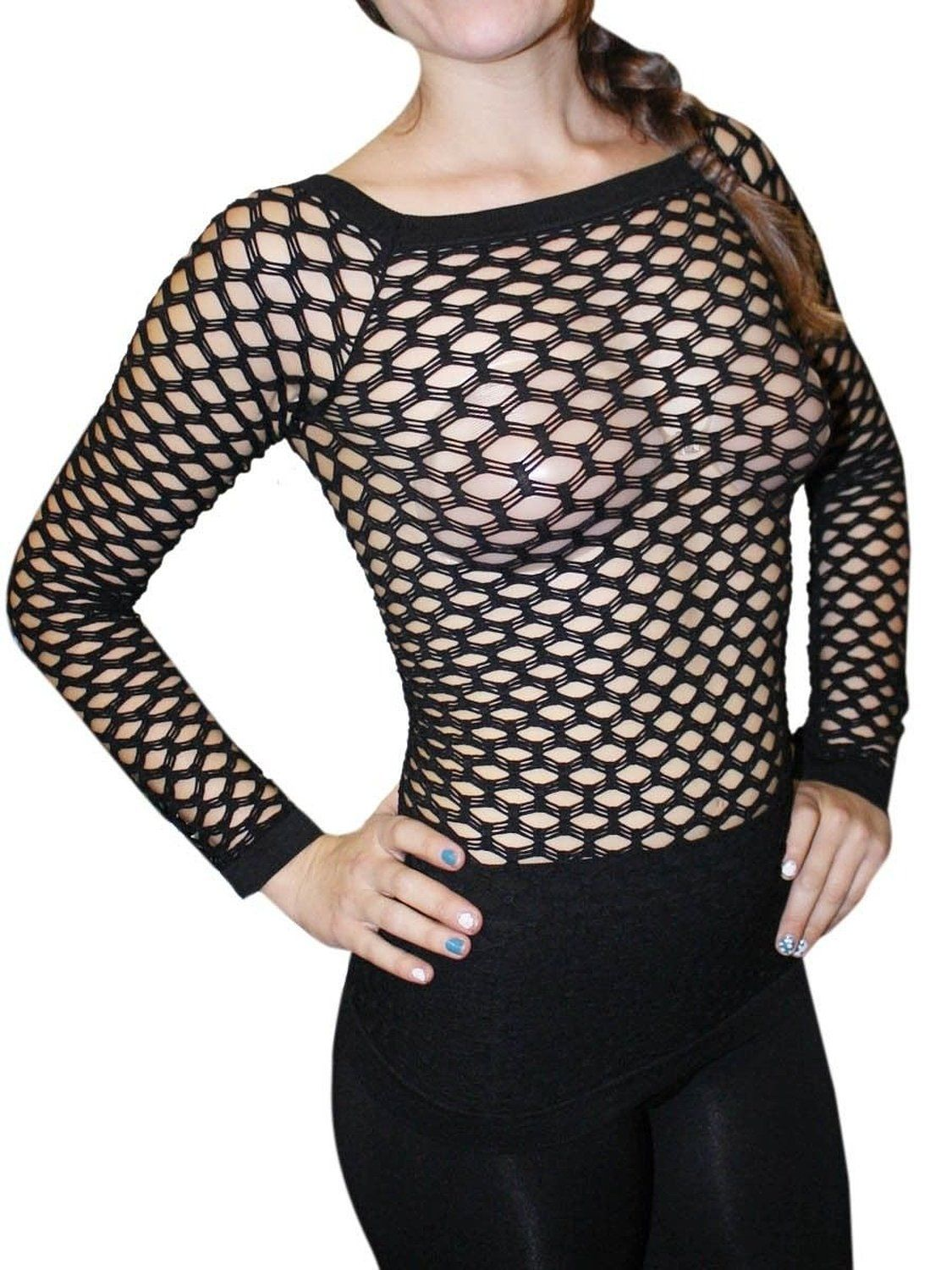 52f497c5fea Amazon.com  New Sexy Long Sleeve Fishnet Shirt Top Bathing Suit Cover Up-Black   Clothing