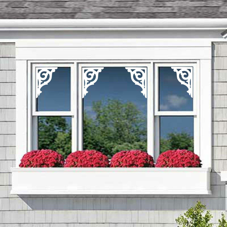 Window Mirror Door Vinyl Decals Nantucket Fretwork Decorative Corner Adhesive Film French Door Decorative Window Trim Exterior Window Trim Windows Exterior