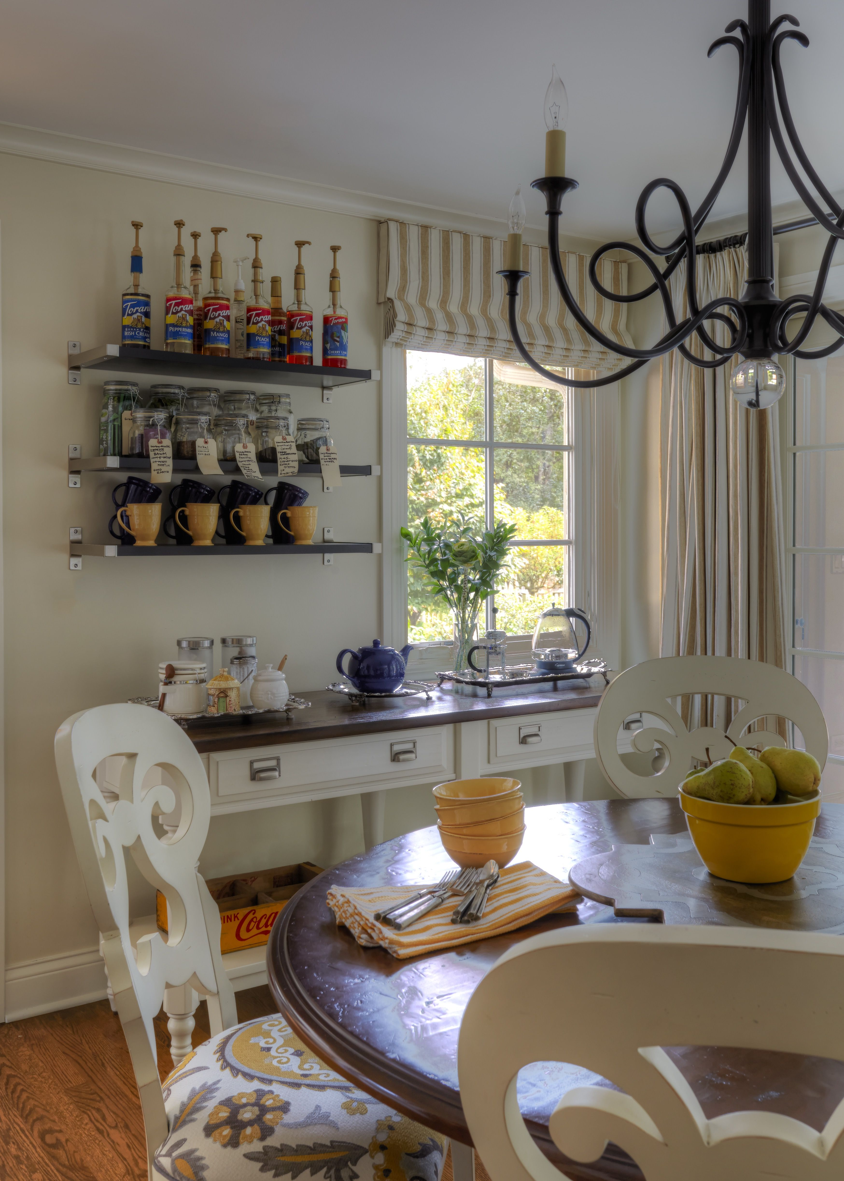 Interior Design Open Kitchen: Kitchen Coffee And Tea Area With Open Shelving And Console