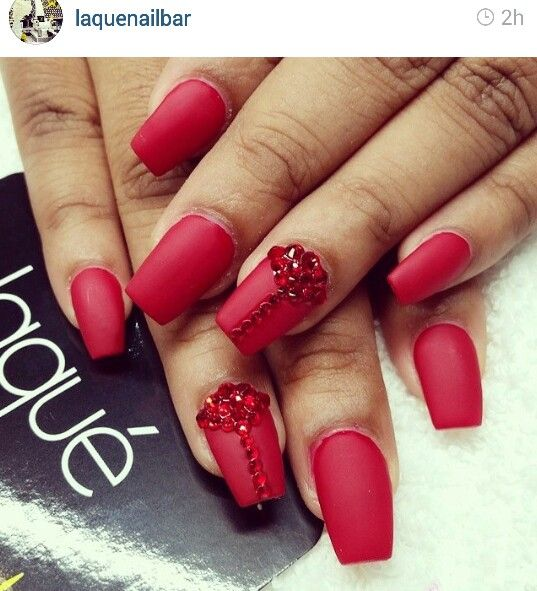 Matte Red With Crystal Accent Nail