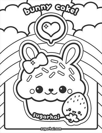 Free Bunny Cake Coloring Page Bunny cupcakes Bunny and Rock