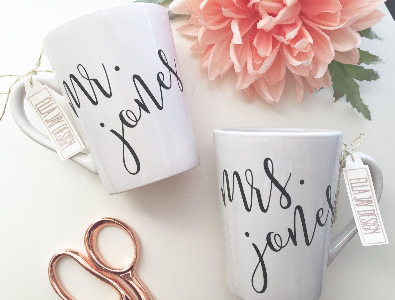 His and Hers Coffee Mug, Wedding Gift, Engagement Gift, Bridal ...