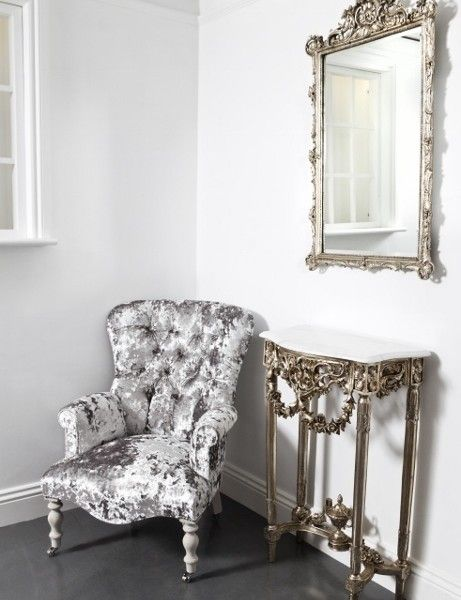 crushed velvet chair cover rentals greenville sc silver console and mirror set 461x640