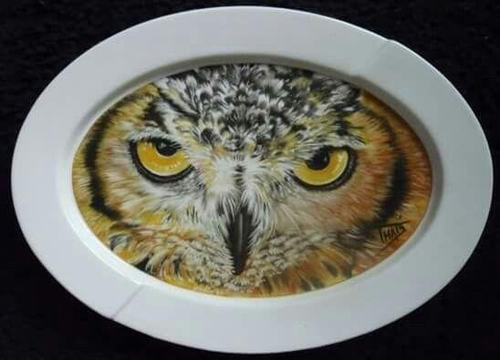 Owl on platter