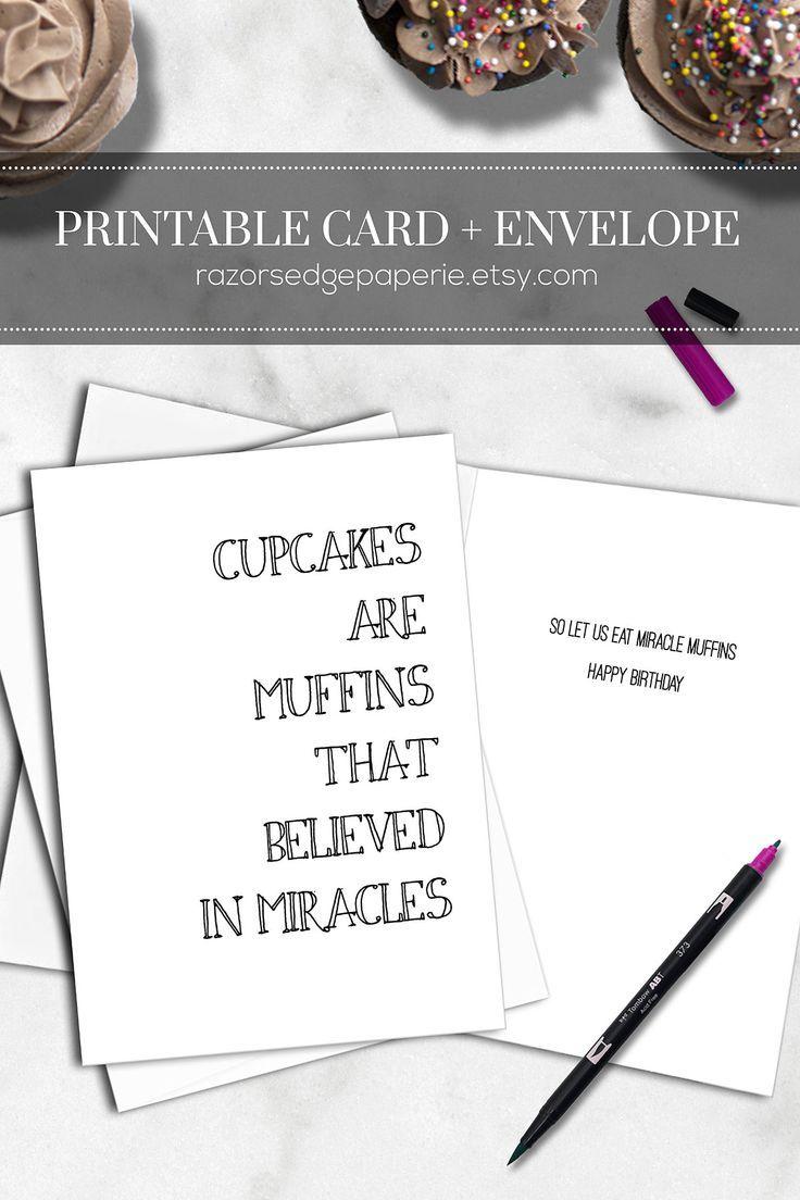 Birthday Cards Free Download Printable Interesting Printable Funny Birthday Card Instant Download Digital Cupcake Food .