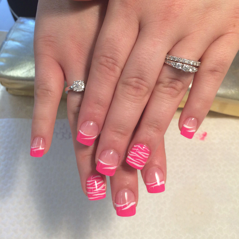 Uv Gel Nails With Pink And White Nail Art Designs My Nail Art