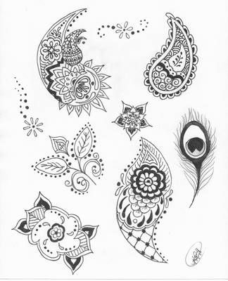 Henna flash sheet of various designs and pattern ideas