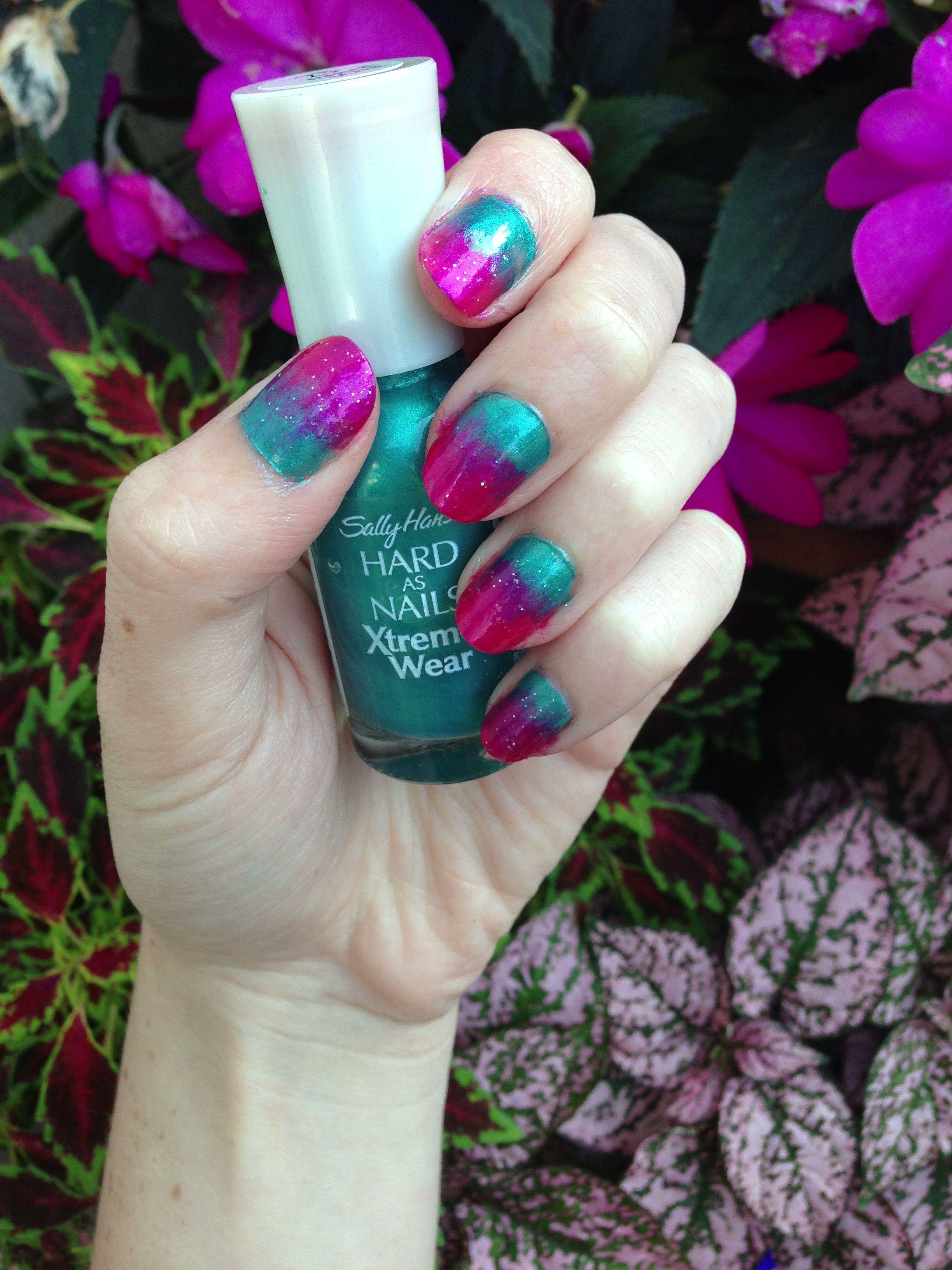 Pink and blue ombré nail art | Rachel | Blue ombre nails, Blue ombre