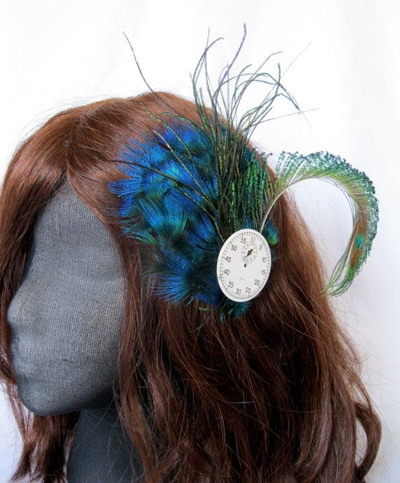 Watch Face Peacock Fascinator by teatimeinc on Etsy, $20.00