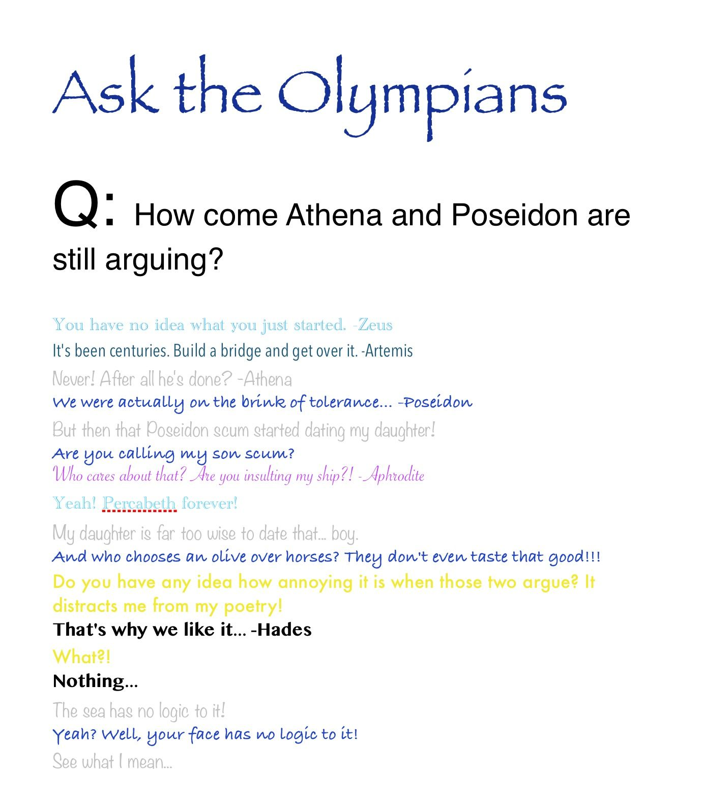 Comment To Ask The Olympians A Question Percy Jackson Funny
