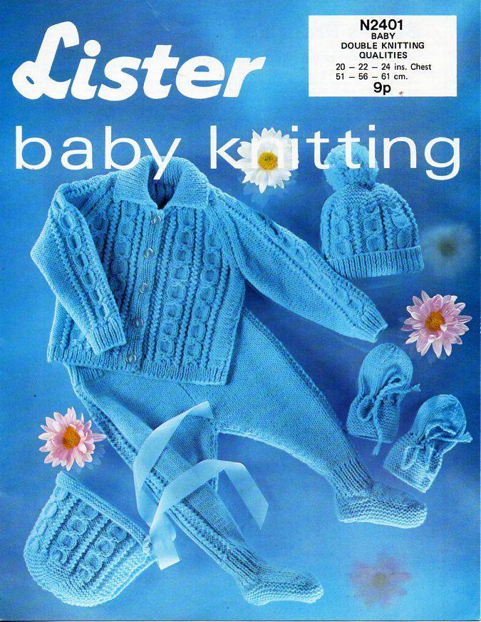 vintage baby cable pram set knitting pattern pdf DK collar jacket ...