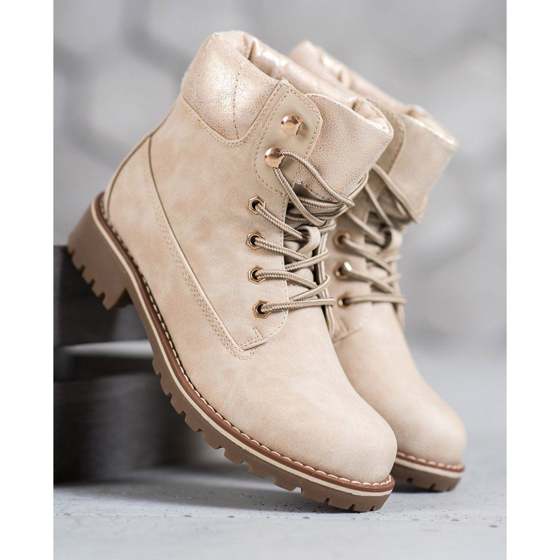 Sds Bezowe Trapery Bezowy Boot Shoes Women Boots Womens Boots