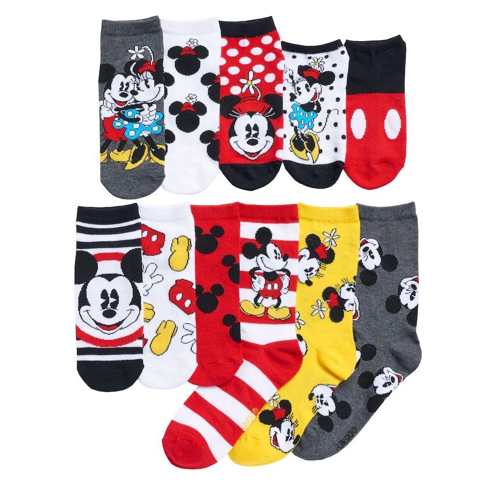 5 Pairs Women Socks Big Kids Cute Mickey Mouse Cartoon Disney Character Socks
