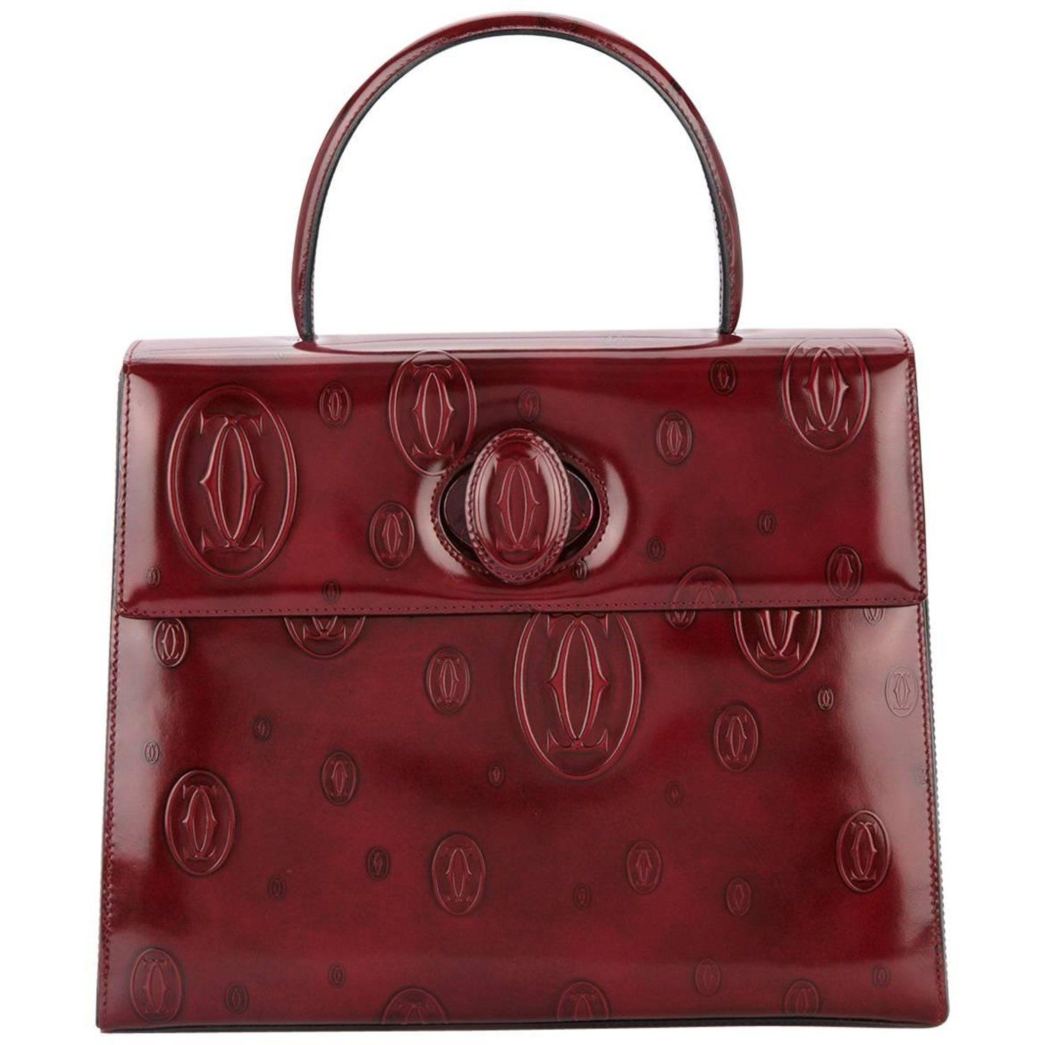 2ea3067eaf4b Cartier Burgundy Patent Leather Top Handle Satchel Kelly Style Evening Flap  Bag