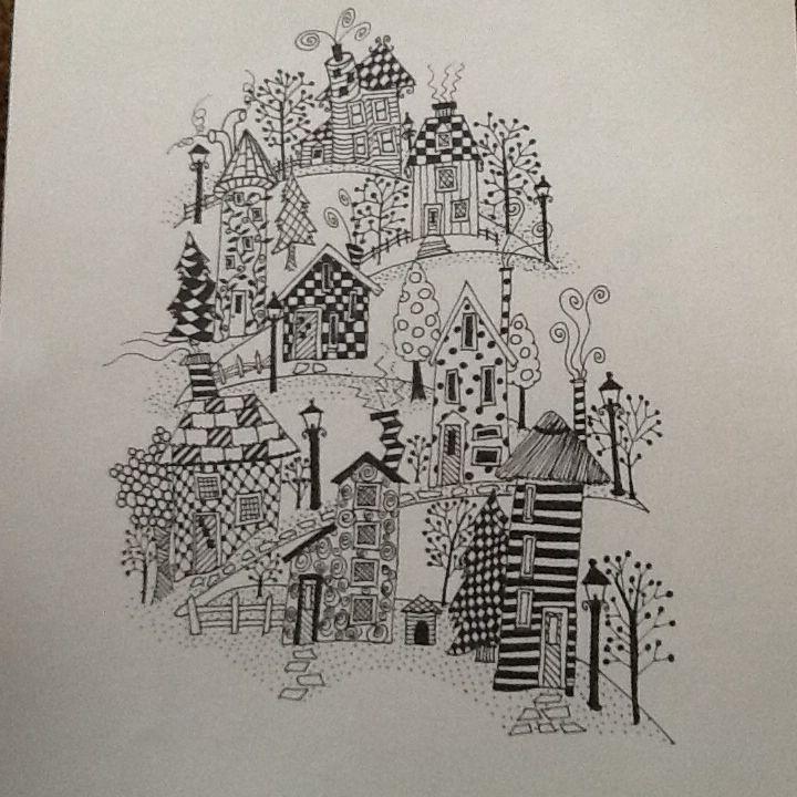 A village on a hill#zentangle