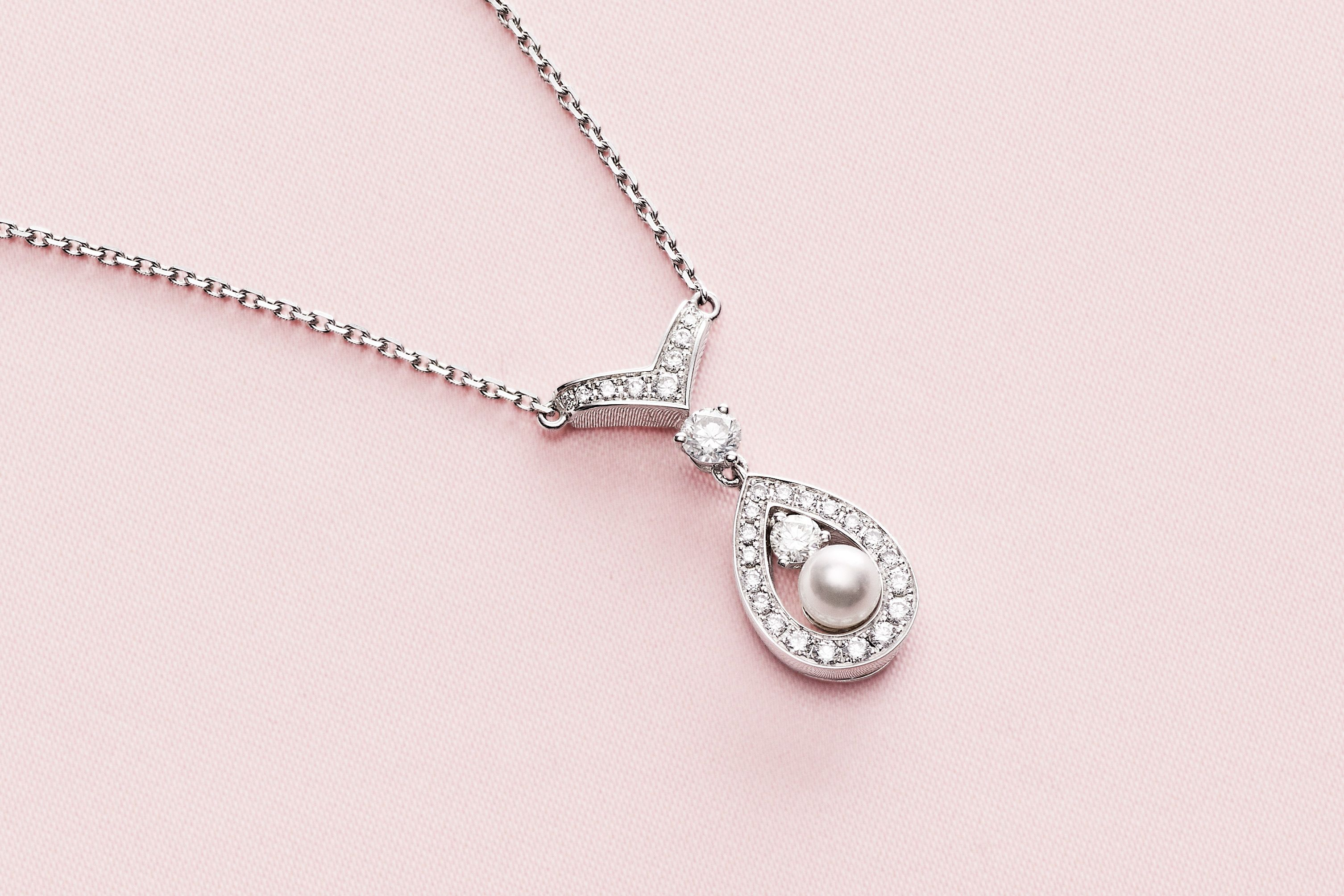 Brilliant Bijou 14k White Gold Diamond Cut Beaded Pendant Chain Necklace