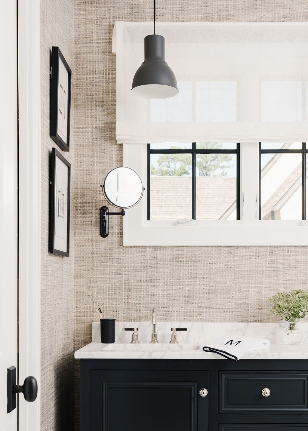 Black And White Neutral Bathroom Design With Grasscloth Wallpaper By Coley Cuttino Interiors Neutral Bathroom Decor Neutral Bathrooms Designs Neutral Bathroom