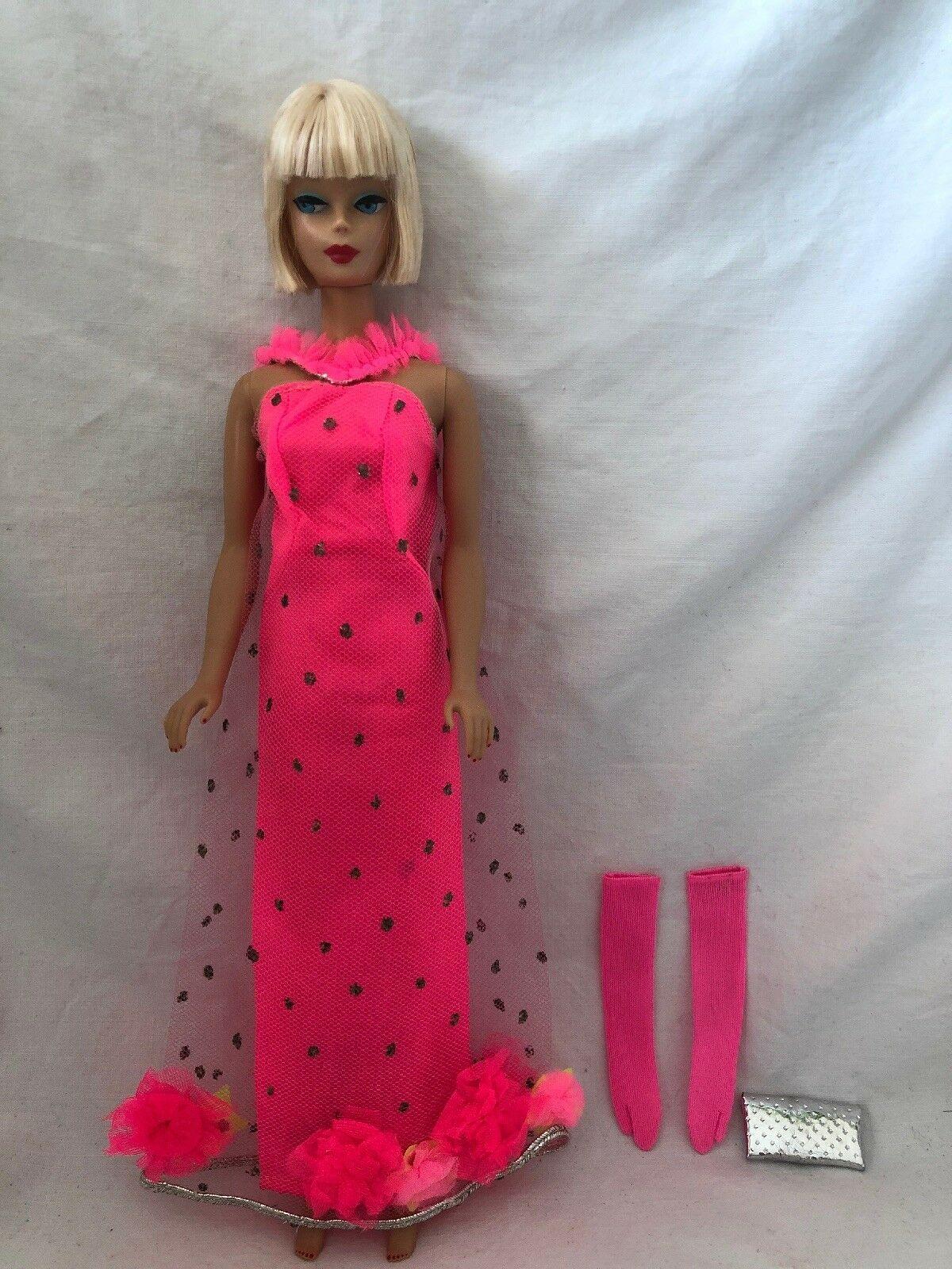 Rare Vintage Barbie Doll Outfit 1844 Extravaganza Hot Pink Gown Gloves Purse Ebay Vintage Barbie Clothes Vintage Barbie Vintage Barbie Dolls