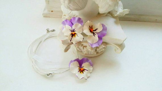 pansy set pansy ring pansy earrings flower by ColdPorcelaine