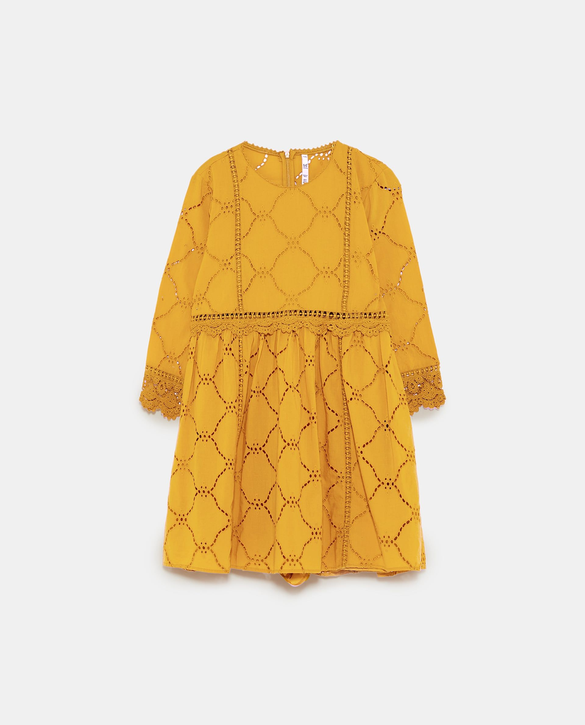 861ca409f98 Image 6 of JUMPSUIT DRESS WITH CUTWORK EMBROIDERY from Zara fashion style  summer lace mustard dress
