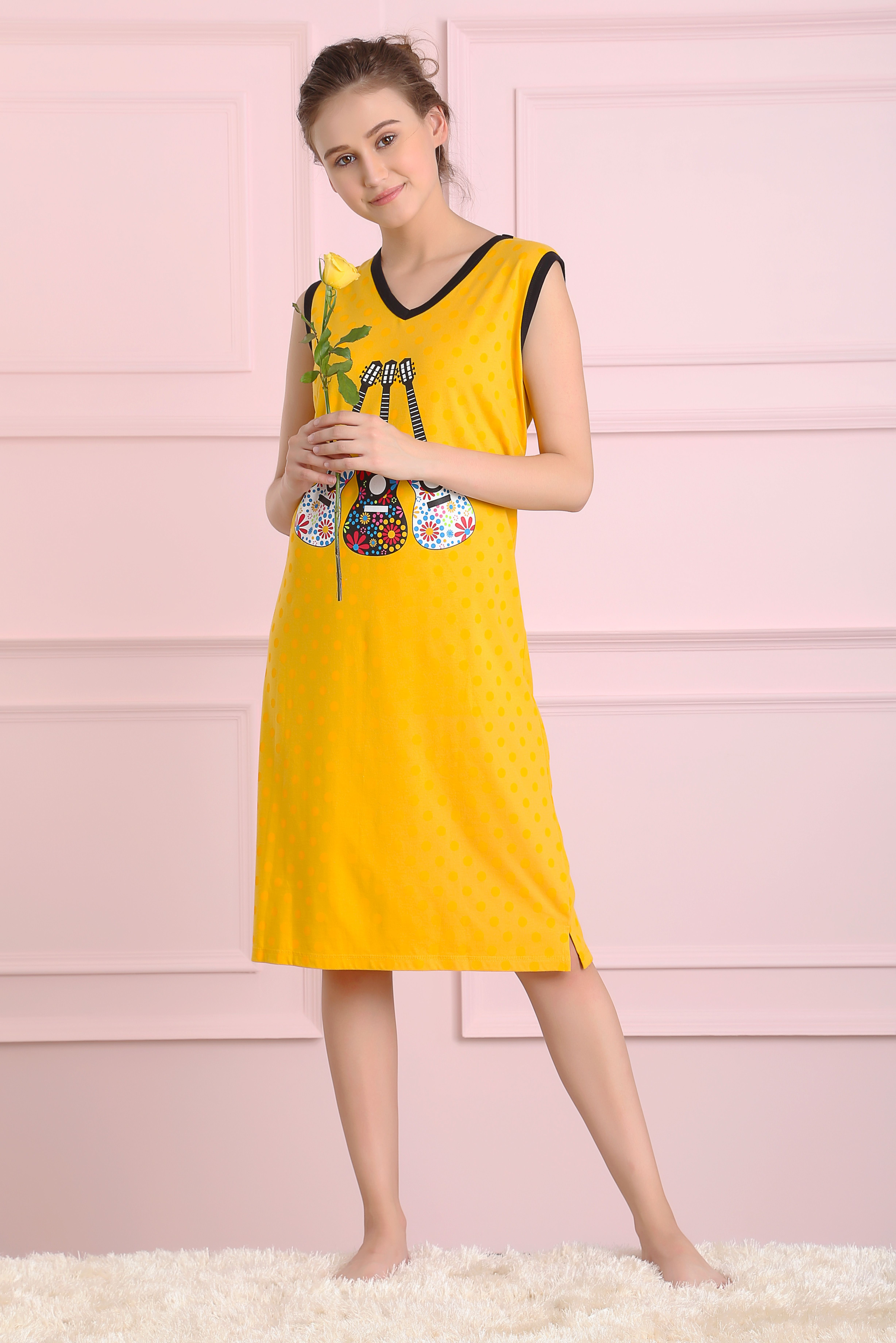 2ff6e5fce We suggest you wear to stay relaxed all night long. Knitted sleeveless and V-  neck sleep trendy night dress.