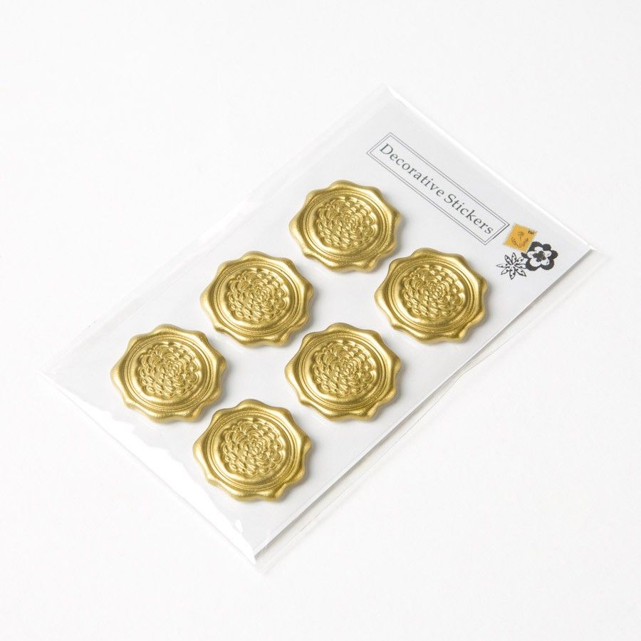 Gold Flower Faux Wax Stickers