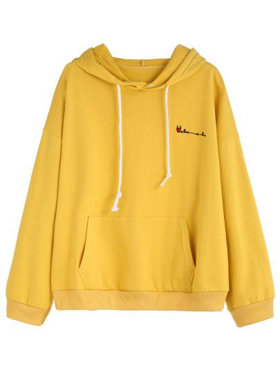 Yellow Letters Embroidered Pocket Hooded Sweatshirt -SheIn ...