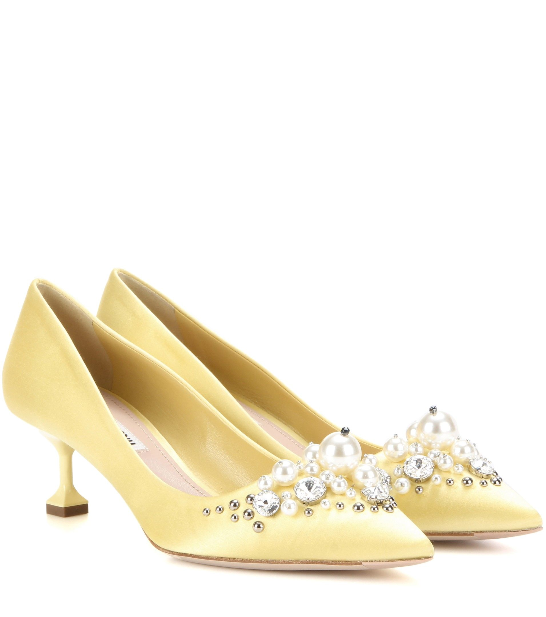 d6a1c1ef794 Miu Miu - Embellished satin pumps - The pale buttercup-yellow shade and  kitten-heel silhouette of Miu Miu s pointed pumps is endearingly vintage