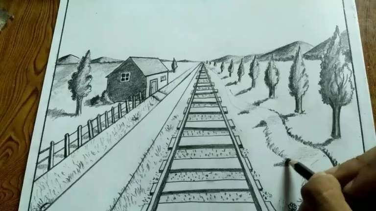 10 Simple Landscape Drawing With One Point Perspective Scenery Drawing Drawingpencilwiki Com In 2020 Drawing Scenery Landscape Drawing Easy Landscape Drawings