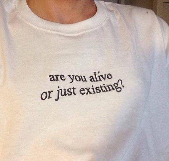 Bist du lebendig oder nur existing? T-Shirt #stitching