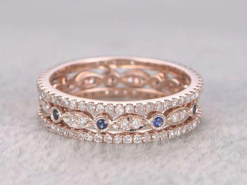 Sapphire And Diamond Wedding Ring Sets Rose Gold Full Eternity