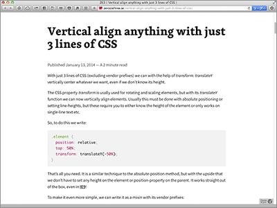 Vertical align anything with just 3 lines of CSS [CSS]たった3行のスタイルシートで高さ不明の要素に対して天地中央に配置するテクニック(IE9にも対応)