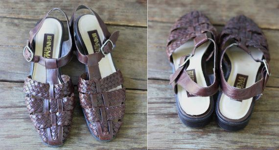 Vintage T strap Woven Leather Sandals Size 8 by LlorePemberton, $20.00
