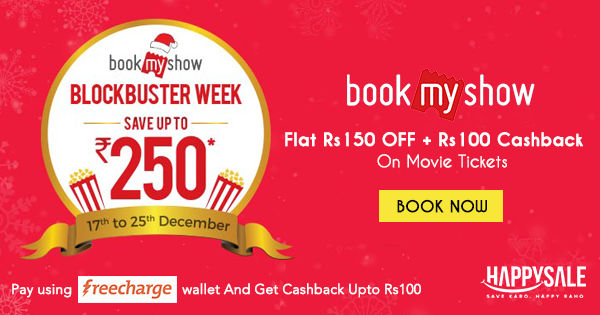 Up for a movie this weekend? Use #Freecharge wallet on #BookMyShow and avail this fantastic limited period offer.
