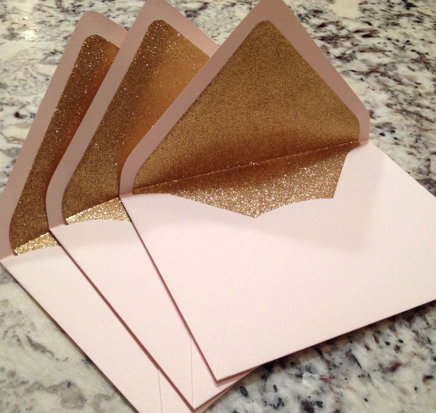 Gold color cardstock paper 5x7 - Luxe Blush A7 5x7 Gold Glitter Lined Envelopes Pale Pink Paper Source Envelopes By Seedinvites