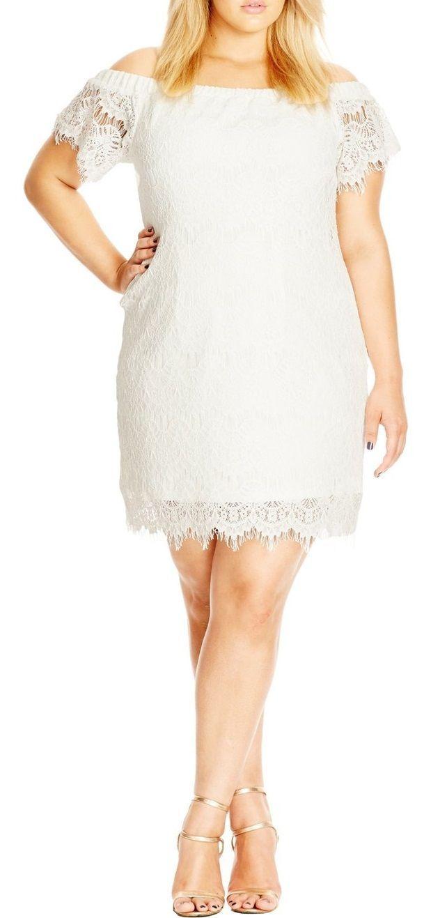 Plus Size Off The Shoulder Lace Dress Plus Size Fashion