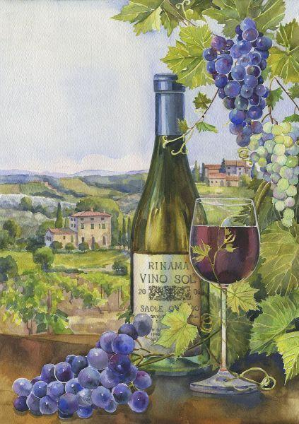 Watercolor Painting Grapes Wine Bottle Juice Glass Still ... |Grapes Wine Bottle Artwork
