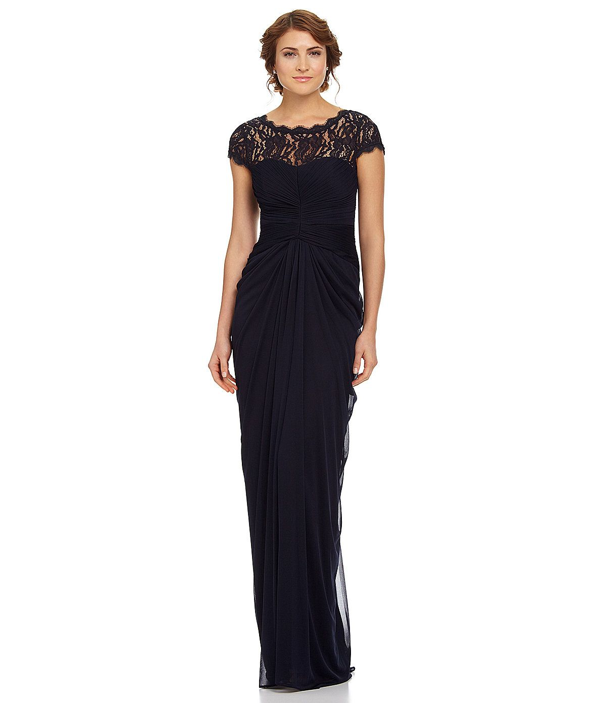 Adrianna Papell Draped Illusion Lace-Neckline Gown | Adrianna ...