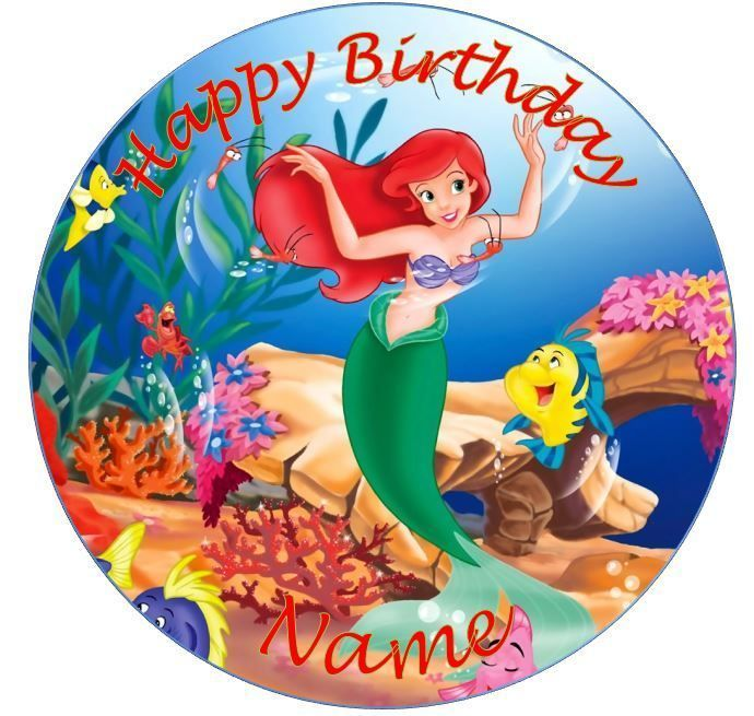 Party Supplies Ariel Little Mermaid Round Edible Icing