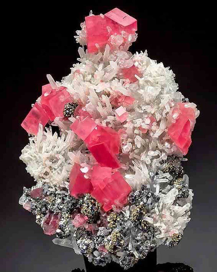 Rhodochrosite Among Needle Quartz With Tetrahedrite Hedgehog Pocket Sweet Home Mine Alma