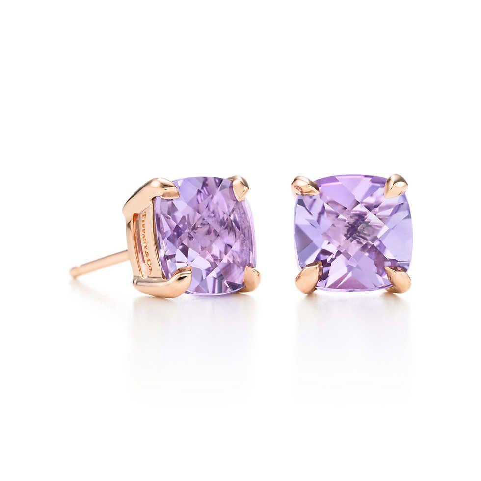 Tiffany Sparklers Lavender Amethyst Earrings In 18k Rose Gold